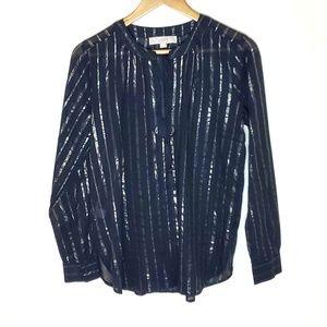 LOFT Metallic Striped Blouse Size XS